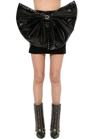 FAUSTO PUGLISI Stretch Vinyl & Velvet Mini Skirt W/bow