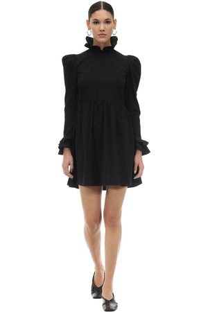 BATSHEVA Ruffled Cotton Poplin Mini Dress