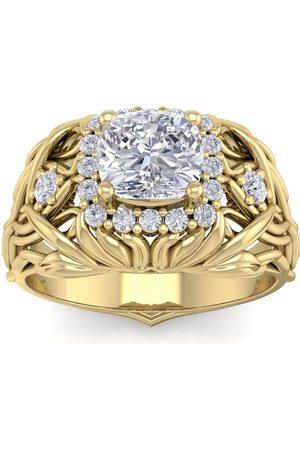 SuperJeweler 1 1/5 Carat Cushion Cut Halo Diamond Intricate Vine Engagement Ring in 14K (5 g)