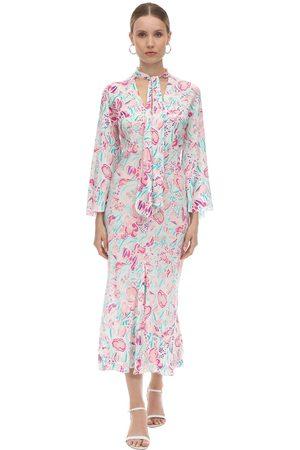 RIXO London Printed Silk Chiffon Midi Dress