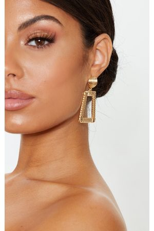 PrettyLittleThing Women Studs - Circle Stud Small Line Effect Door Knocker Earring