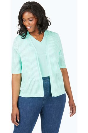Foxcroft Collection Clarabelle Plus Novelty Stitch Cardigan