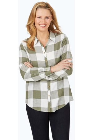 Foxcroft Collection Rhea Brushed Buffalo Plaid Shirt