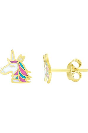 SuperJeweler 14K (1.18 g) Kids Unicorn Stud Earrings by