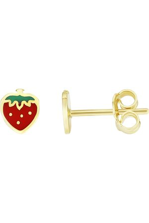 SuperJeweler 14K (1 gram) Kids Strawberry Stud Earrings by