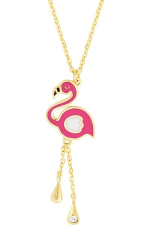 SuperJeweler 14K (1.89 g) Kids Flamingo Necklace