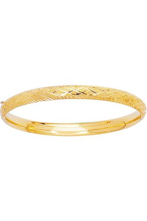 SuperJeweler 14K (3.40 g) Kids Diamond Cut Bangle Bracelet