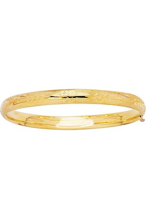 SuperJeweler Kids Bracelets - 14K (3.60 g) Kids Filigree Bangle Bracelet