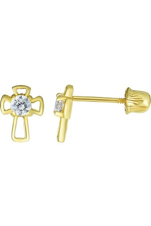 SuperJeweler 14K (0.42 g) Kids Cross Stud Earrings by