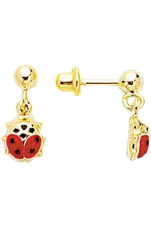 SuperJeweler 14K (0.90 g) Kids Ladybug Dangle Earrings by