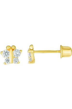 SuperJeweler 14K (0.53 g) Kids Butterfly Stud Earrings by