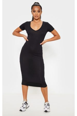 PRETTYLITTLETHING Petite V Neck Midi Bodycon Dress