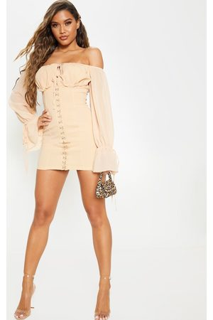 PRETTYLITTLETHING Fawn Chiffon Sleeve Hook & Eye Bodycon Dress