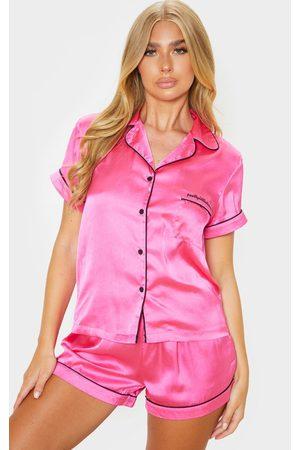 PRETTYLITTLETHING Women Pajamas - Hot Satin Pocket PJ Set