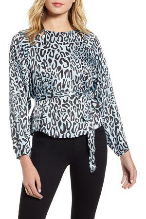 Rebecca Minkoff Women's Angelina Leopard Print Tie Waist Blouse