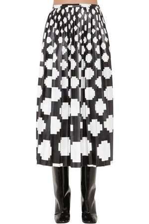 Marni Printed Satin Midi Skirt W/ Pleats