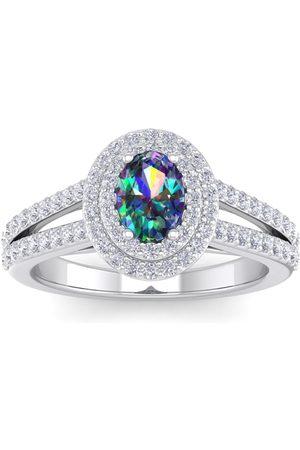 SuperJeweler 1 3/4 Carat Oval Shape Mystic Topaz & Halo 76 Diamond Ring in 14K (5.20 g)