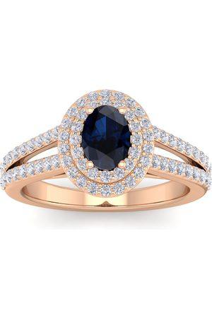SuperJeweler 1 3/4 Carat Oval Shape Sapphire & Halo 76 Diamond Ring in 14K (5.20 g)