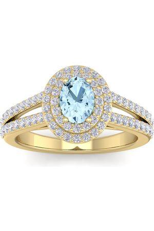 SuperJeweler 1 3/4 Carat Oval Shape Aquamarine & Halo 76 Diamond Ring in 14K (5.20 g)