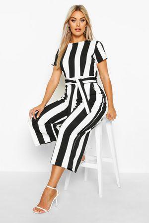 Boohoo Womens Plus Stripe Cap Sleeve Tie Waist Culotte Jumpsuit - - 12