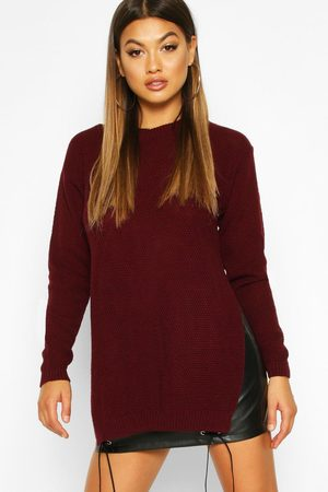 Boohoo Womens Side Split Moss Stitch Tunic Sweater - - S