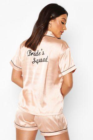 Boohoo Womens Bride Squad Satin Embroidered Pj Short Set - - 4