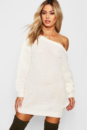 Boohoo Womens Petite Waffle Knit Off The Shoulder Sweater Dress - - S