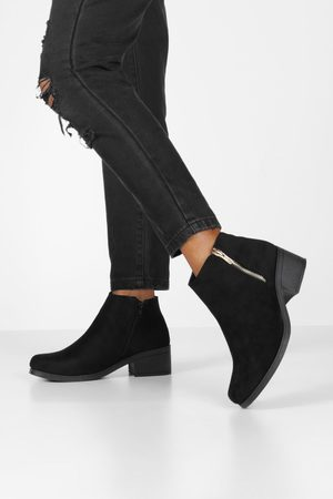 Boohoo Womens Zip Side Block Heel Chelsea Boots - - 5