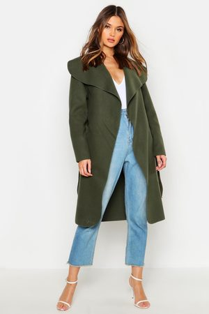 Boohoo Womens Belted Shawl Collar Coat - - One Size