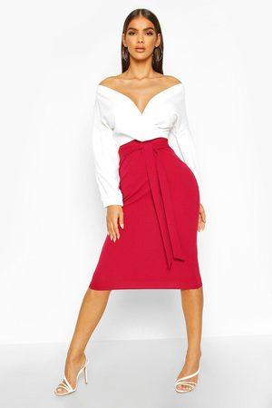 Boohoo Womens Contrast Off Shoulder Wrap Midi Dress - - 2