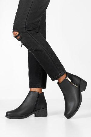 Boohoo Womens Zip Side Block Heel Chelsea Boots - - 5
