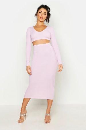 Boohoo Womens Long Sleeve Crop & Midaxi Skirt Rib Co-Ord - - 2