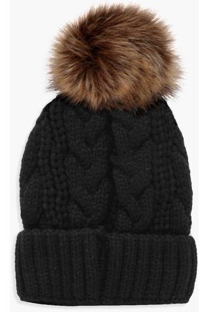 Boohoo Womens Cable Knit Faux Fur Pom Beanie - - One Size