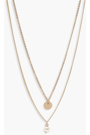 Boohoo Womens Circle & Pearl Simple Layered Necklace - - One Size