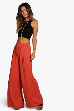 Boohoo Womens Basic Pin Tuck Soft Wide Leg Pants - - 4