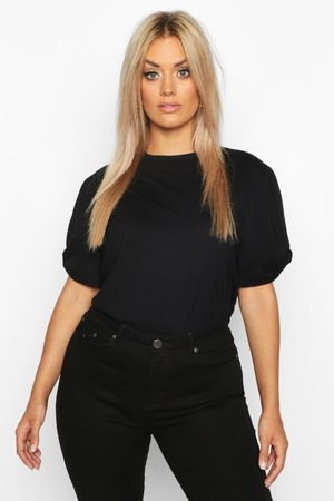 Boohoo Womens Plus Ruched Knot Puff Sleeve T-Shirt - - 24