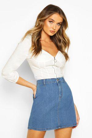 Boohoo Womens Disco Fit Denim Skirt - - 2
