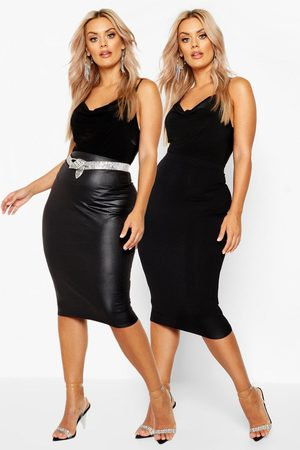 Boohoo Womens Plus 2 Pack Faux Leather + Jersey Midi Skirt - - 12