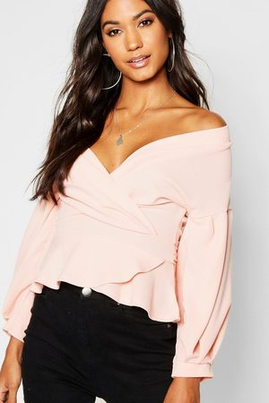 Boohoo Womens Bell Sleeve Wrap Over Top - - 4