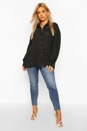 Boohoo Womens Plus Shirred Oversized Shirt - - 12