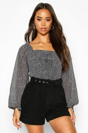 Boohoo Womens Woven Ditsy Print Volume Sleeve Crop Top - - 2