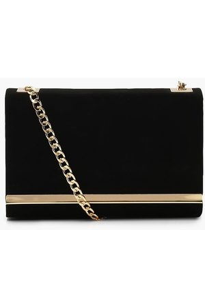 Boohoo Womens Structured Suedette Clutch Bag And Chain - - One Size