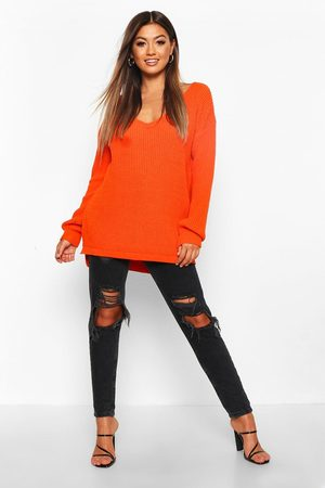 Boohoo Womens Oversized V Neck Sweater - - S/M