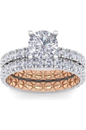 SuperJeweler 3 Carat Round Shape Diamond Bridal Ring Set in Quilted 14K White & (7 g) (