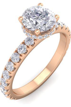 SuperJeweler 1.5 Carat Round Shape Hidden Halo Diamond Engagement Ring in 14K (3 g) (