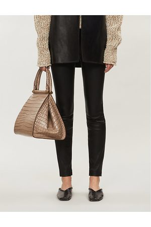 THEORY High-rise leather leggings