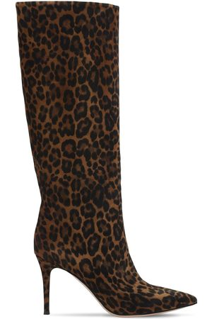 Gianvito Rossi 85mm Print Suede Tall Boots