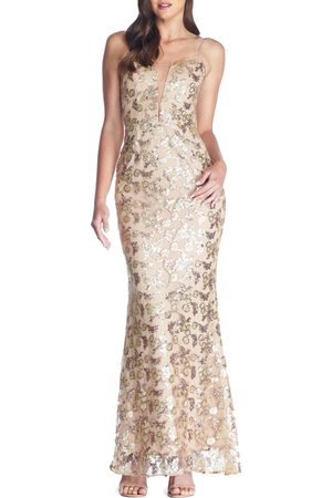 Dress The Population Women's Mara Lace & Sequin Evening Gown