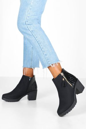Boohoo Womens Croc Panel Zip Chunky Chelsea Boots - - 5