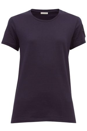Moncler Velvet Logo Appliquéd Cotton T Shirt - Womens - Navy